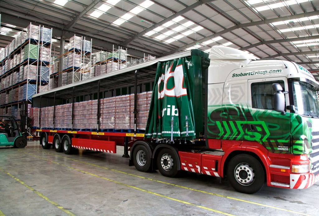 Eddie Stobard Lorry in Warehouse.