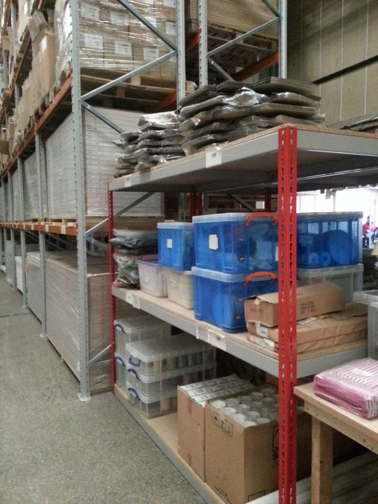 Image of Shelves Inside ATL's Warehouse.